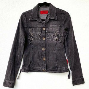 Hot Topic Tripp NYC Denim Jean Moto Jacket Goth